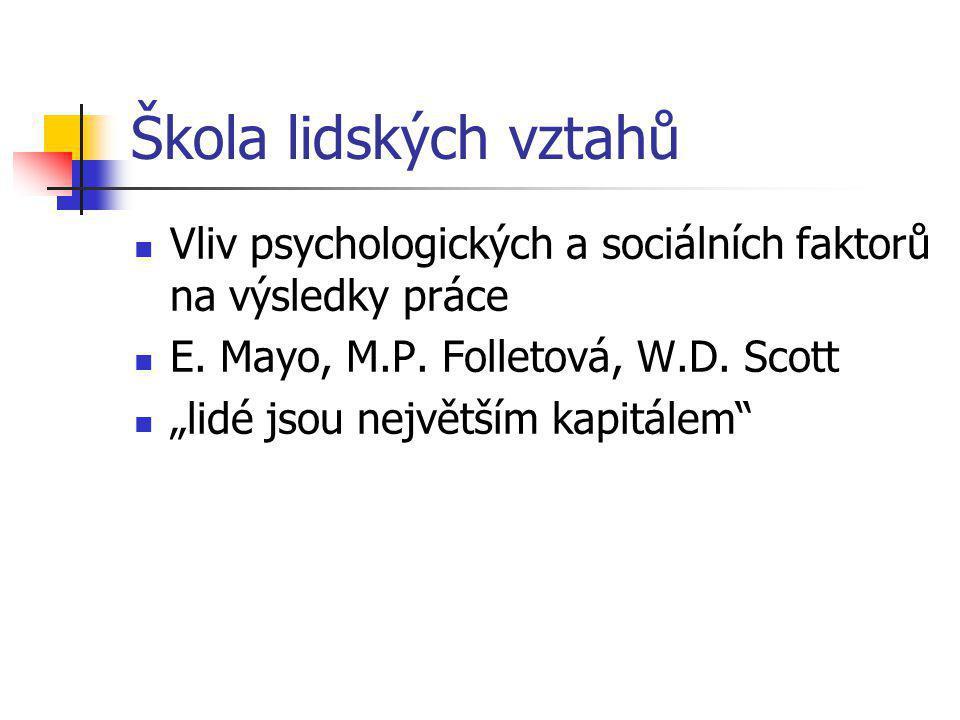 Škola lidských vztahů Vliv psychologických a sociálních faktorů na výsledky práce E.