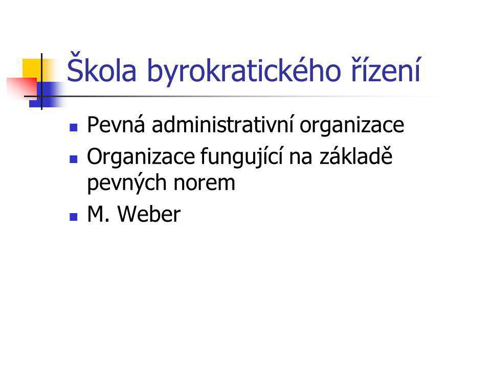Škola byrokratického řízení Pevná administrativní organizace Organizace fungující na základě pevných norem M.