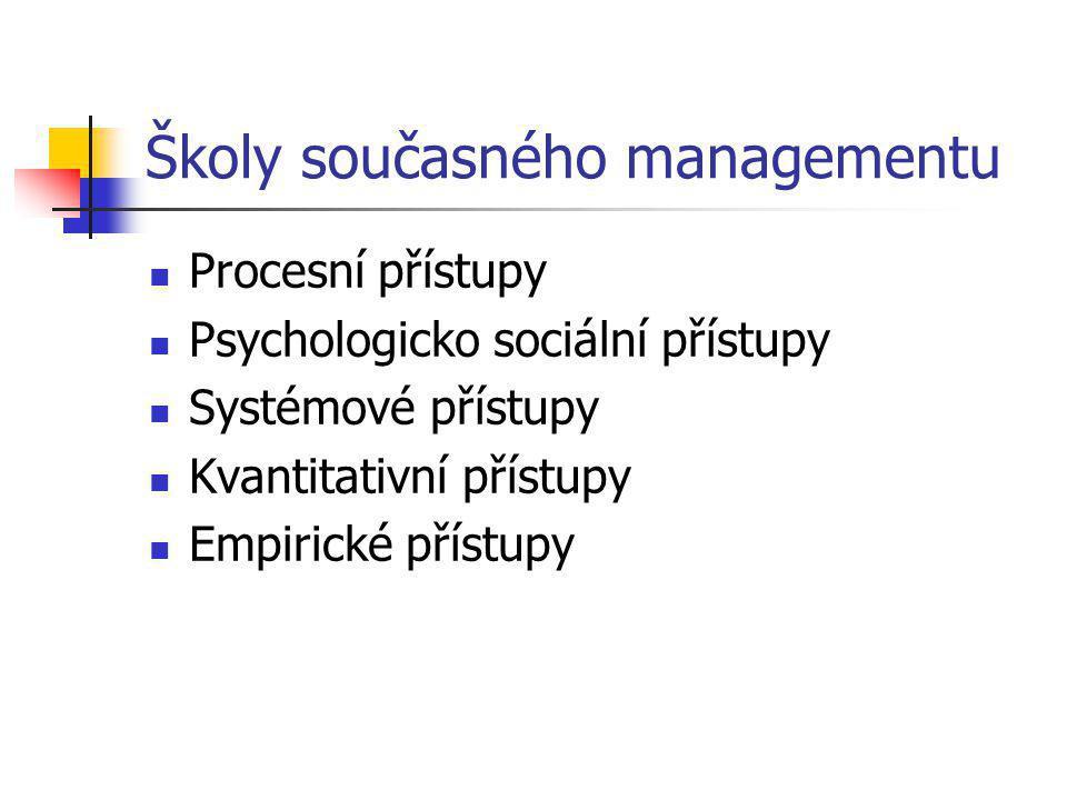 Školy současného managementu Procesní přístupy Psychologicko sociální přístupy Systémové přístupy Kvantitativní přístupy Empirické přístupy