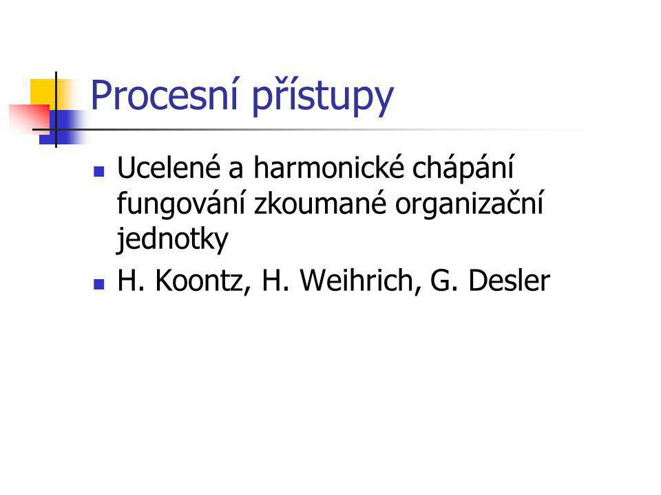 Procesní přístupy Ucelené a harmonické chápání fungování zkoumané organizační jednotky H.