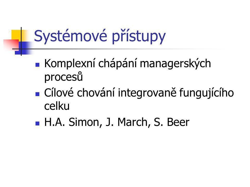 Systémové přístupy Komplexní chápání managerských procesů Cílové chování integrovaně fungujícího celku H.A.