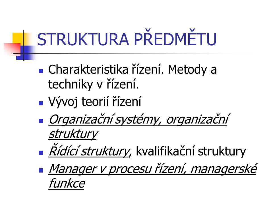 STRUKTURA PŘEDMĚTU Charakteristika řízení. Metody a techniky v řízení. Vývoj teorií řízení Organizační systémy, organizační struktury Řídící struktury
