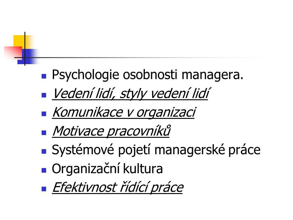 Psychologie osobnosti managera. Vedení lidí, styly vedení lidí Komunikace v organizaci Motivace pracovníků Systémové pojetí managerské práce Organizač