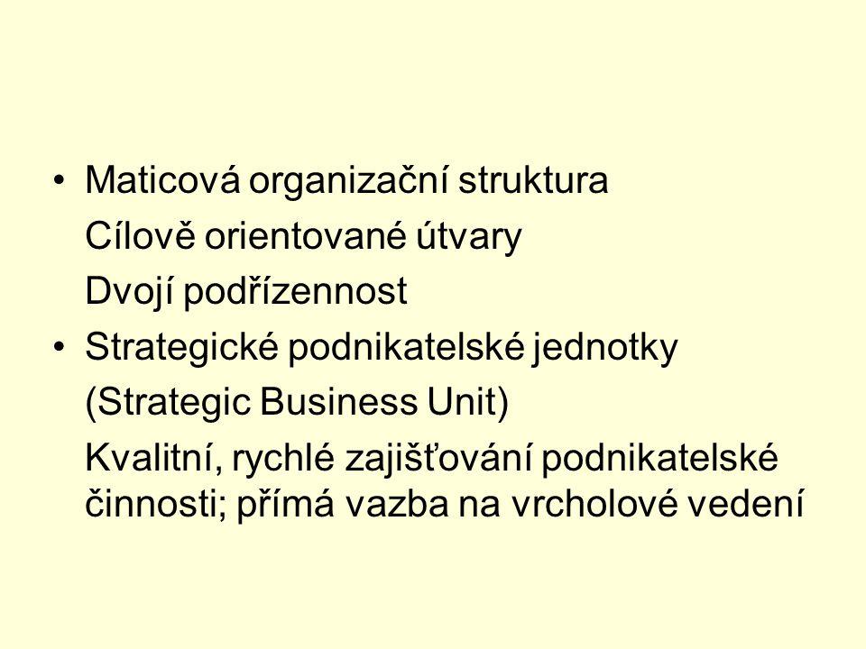 Maticová organizační struktura Cílově orientované útvary Dvojí podřízennost Strategické podnikatelské jednotky (Strategic Business Unit) Kvalitní, ryc