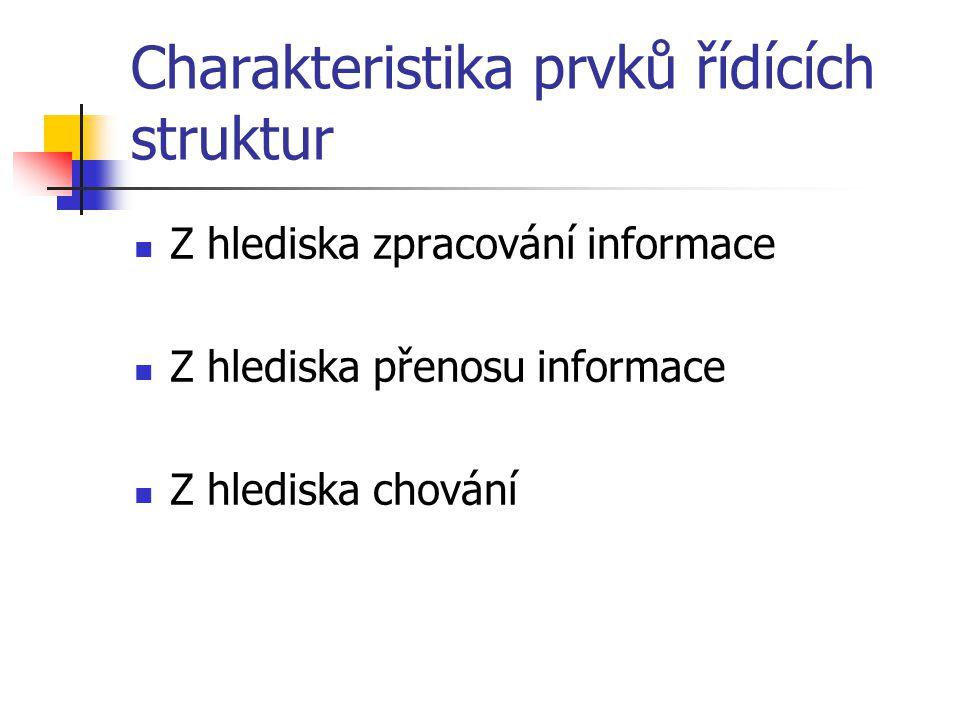 Charakteristika prvků řídících struktur Z hlediska zpracování informace Z hlediska přenosu informace Z hlediska chování