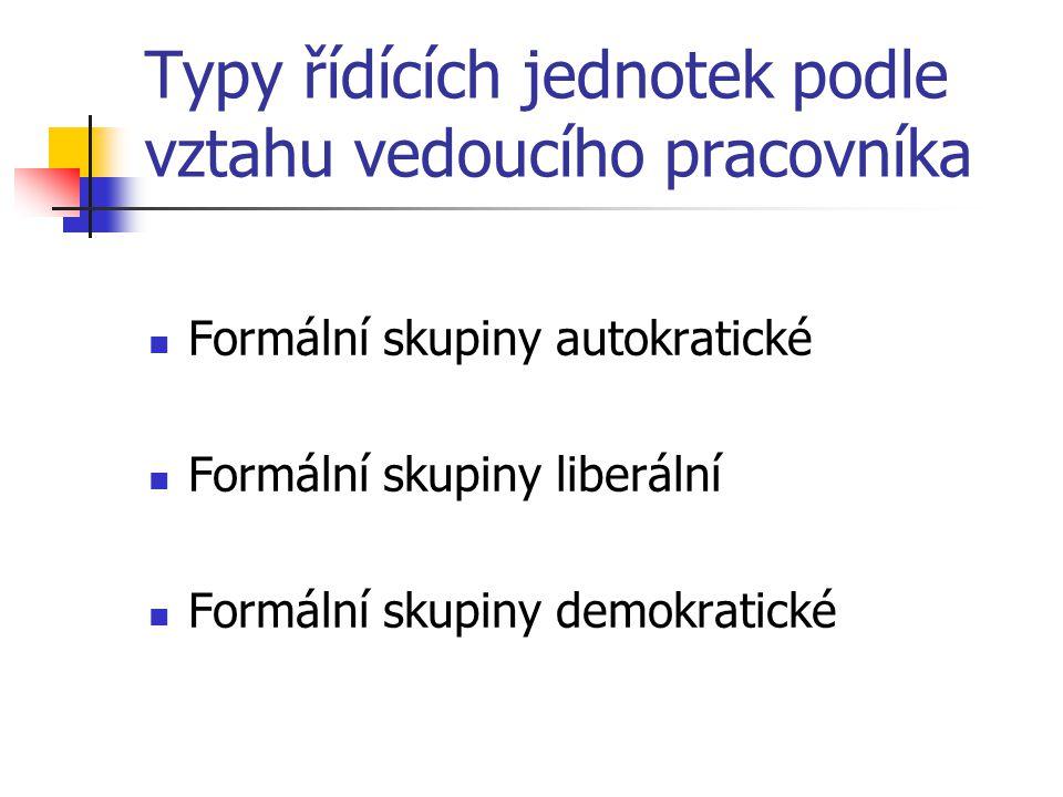Typy řídících jednotek podle vztahu vedoucího pracovníka Formální skupiny autokratické Formální skupiny liberální Formální skupiny demokratické