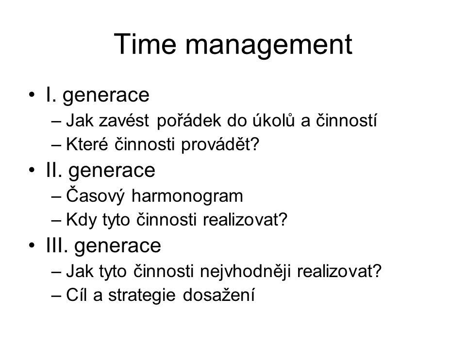 Time management I. generace –Jak zavést pořádek do úkolů a činností –Které činnosti provádět? II. generace –Časový harmonogram –Kdy tyto činnosti real