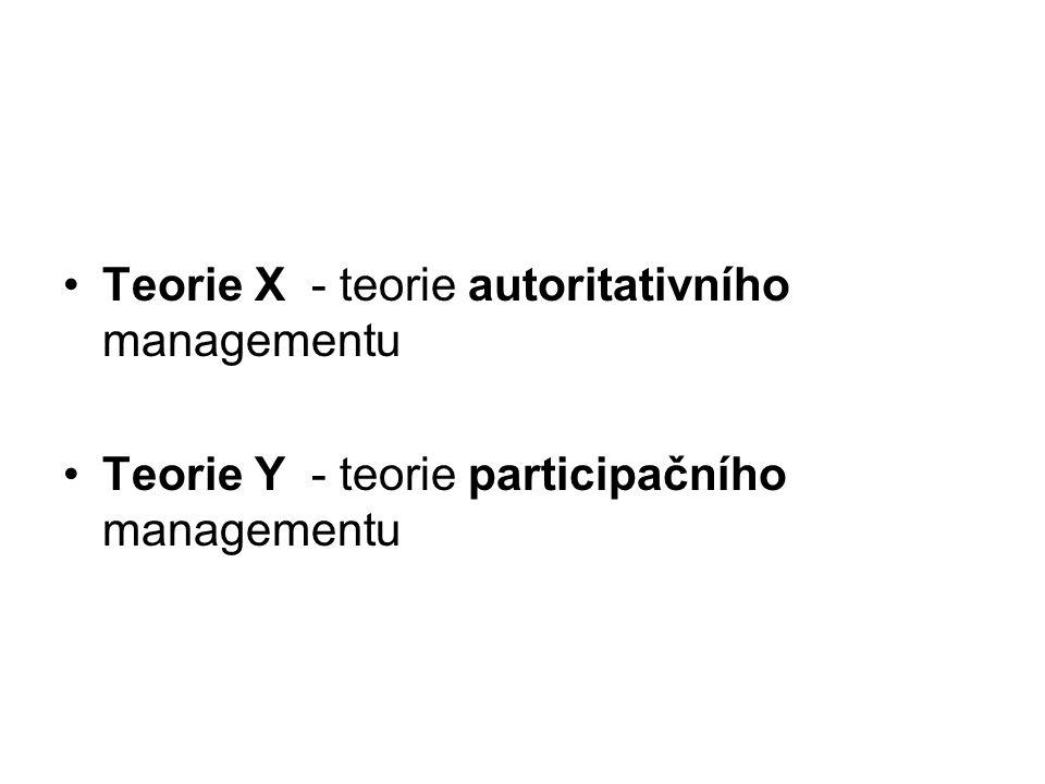 Teorie X - teorie autoritativního managementu Teorie Y - teorie participačního managementu