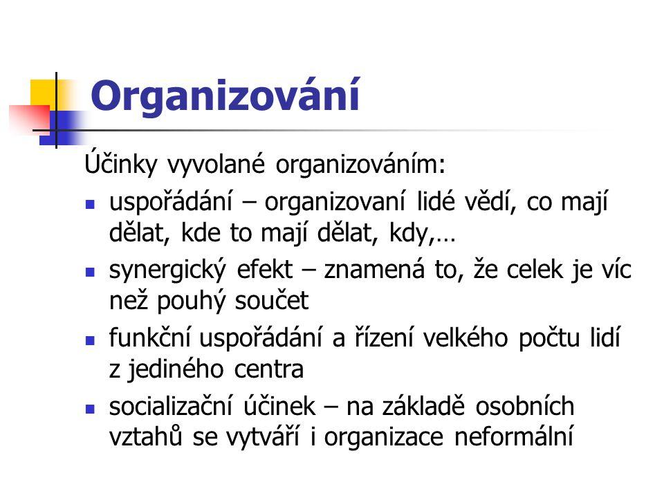 Organizování Účinky vyvolané organizováním: uspořádání – organizovaní lidé vědí, co mají dělat, kde to mají dělat, kdy,… synergický efekt – znamená to, že celek je víc než pouhý součet funkční uspořádání a řízení velkého počtu lidí z jediného centra socializační účinek – na základě osobních vztahů se vytváří i organizace neformální