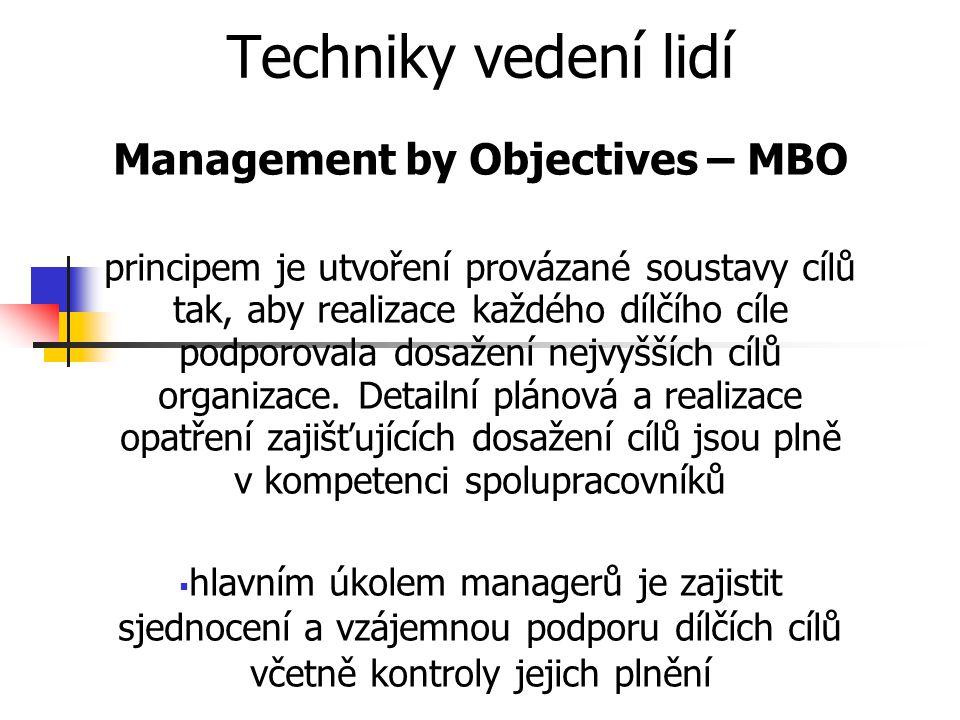 Techniky vedení lidí Management by Objectives – MBO principem je utvoření provázané soustavy cílů tak, aby realizace každého dílčího cíle podporovala dosažení nejvyšších cílů organizace.