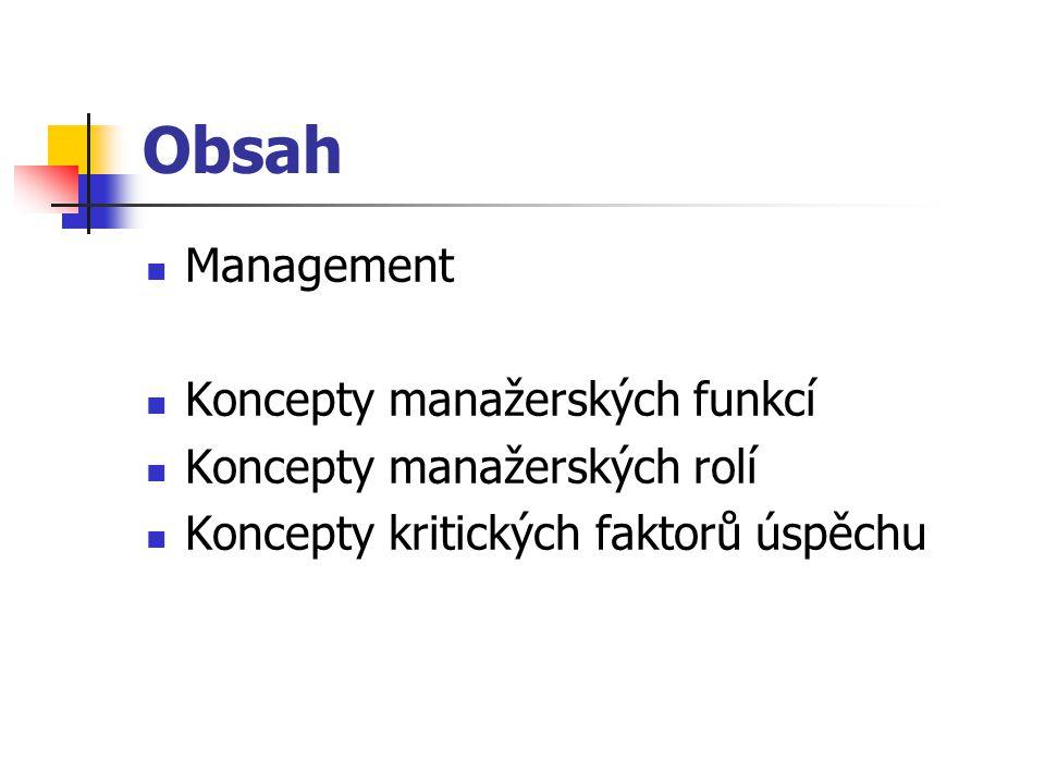 Obsah Management Koncepty manažerských funkcí Koncepty manažerských rolí Koncepty kritických faktorů úspěchu