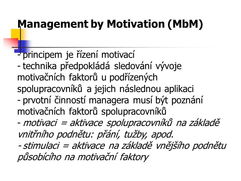 Management by Motivation (MbM) -principem je řízení motivací -technika předpokládá sledování vývoje motivačních faktorů u podřízených spolupracovníků a jejich následnou aplikaci -prvotní činností managera musí být poznání motivačních faktorů spolupracovníků -motivaci = aktivace spolupracovníků na základě vnitřního podnětu: přání, tužby, apod.