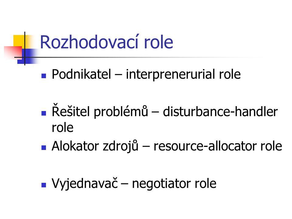 Rozhodovací role Podnikatel – interprenerurial role Řešitel problémů – disturbance-handler role Alokator zdrojů – resource-allocator role Vyjednavač – negotiator role