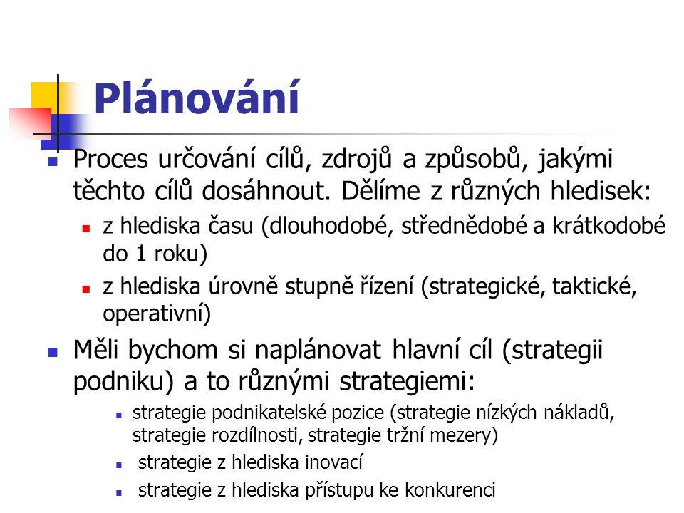 Plánování Proces určování cílů, zdrojů a způsobů, jakými těchto cílů dosáhnout.
