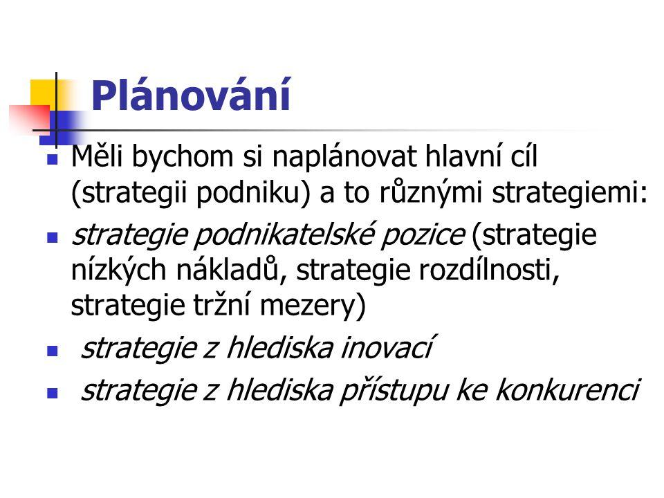 Plánování Měli bychom si naplánovat hlavní cíl (strategii podniku) a to různými strategiemi: strategie podnikatelské pozice (strategie nízkých nákladů, strategie rozdílnosti, strategie tržní mezery) strategie z hlediska inovací strategie z hlediska přístupu ke konkurenci