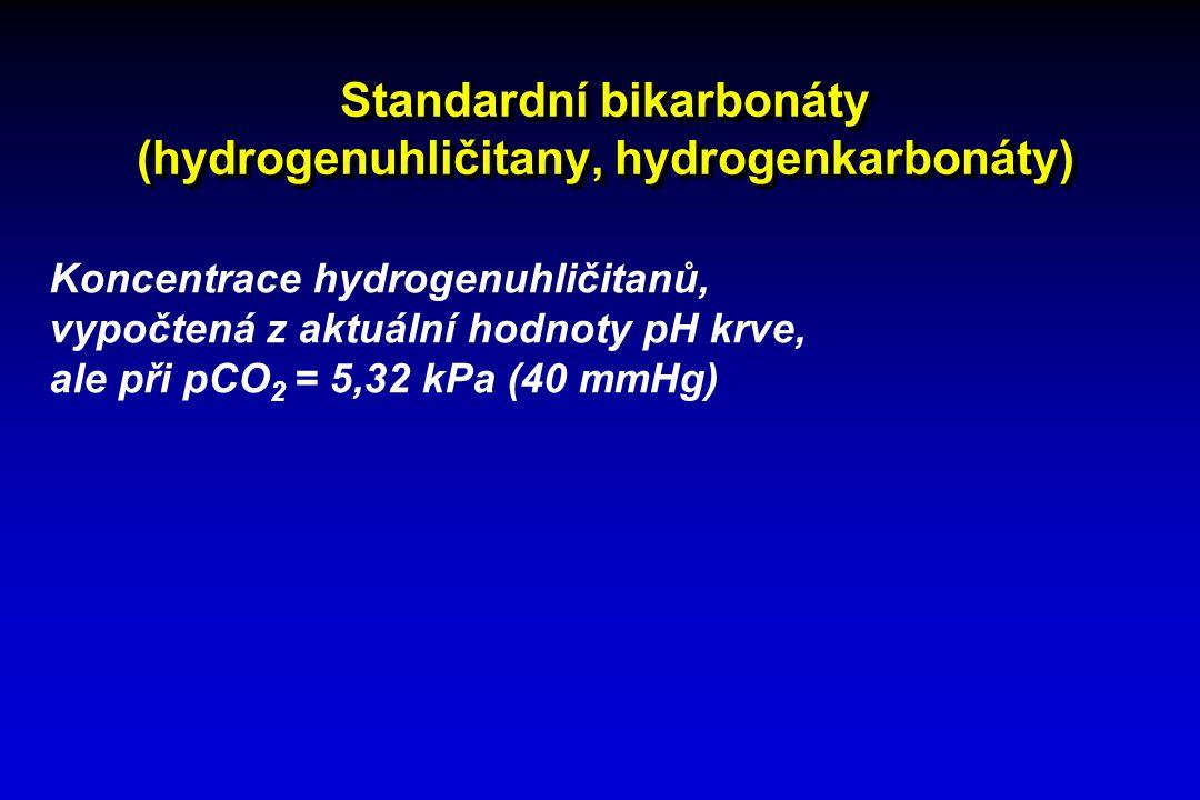 Standardní bikarbonáty (hydrogenuhličitany, hydrogenkarbonáty) Koncentrace hydrogenuhličitanů, vypočtená z aktuální hodnoty pH krve, ale při pCO 2 = 5