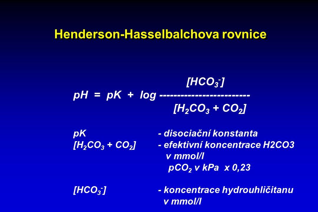 Henderson-Hasselbalchova rovnice [HCO 3 - ] pH = pK + log ------------------------- [H 2 CO 3 + CO 2 ] pK - disociační konstanta [H 2 CO 3 + CO 2 ]- e