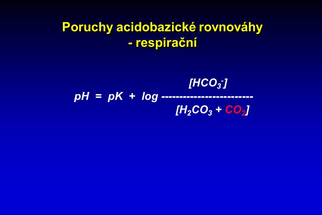 Poruchy acidobazické rovnováhy - respirační [HCO 3 - ] pH = pK + log ------------------------- [H 2 CO 3 + CO 2 ]