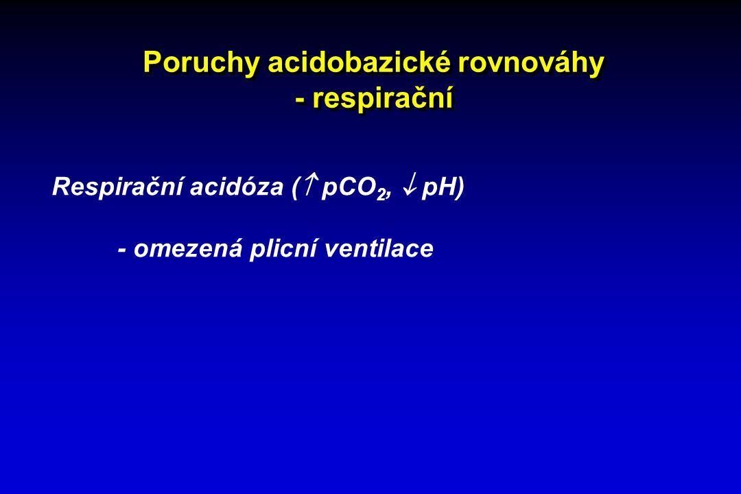 Poruchy acidobazické rovnováhy - respirační Respirační acidóza (  pCO 2,  pH) - omezená plicní ventilace