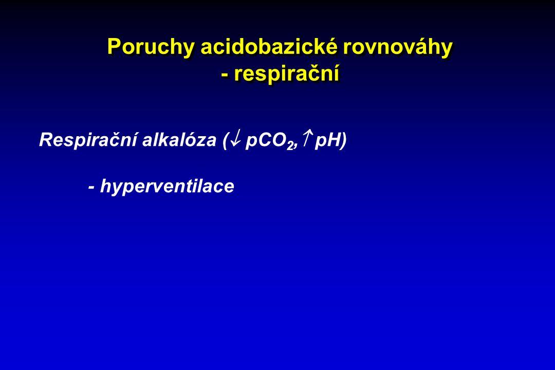 Poruchy acidobazické rovnováhy - respirační Respirační alkalóza (  pCO 2,  pH) - hyperventilace