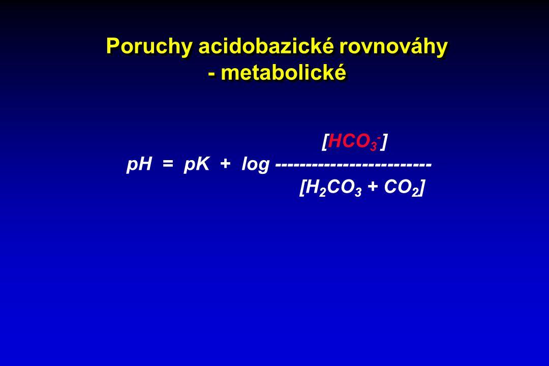 Poruchy acidobazické rovnováhy - metabolické [HCO 3 - ] pH = pK + log ------------------------- [H 2 CO 3 + CO 2 ]