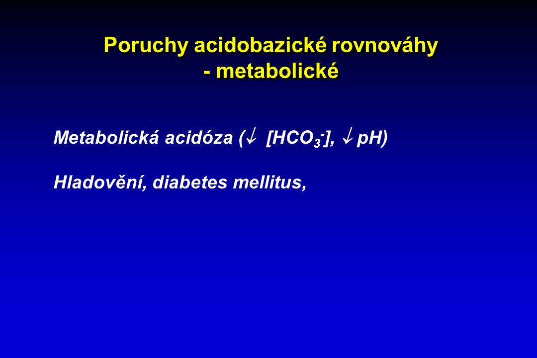 Poruchy acidobazické rovnováhy - metabolické Metabolická acidóza (  [HCO 3 - ],  pH) Hladovění, diabetes mellitus,