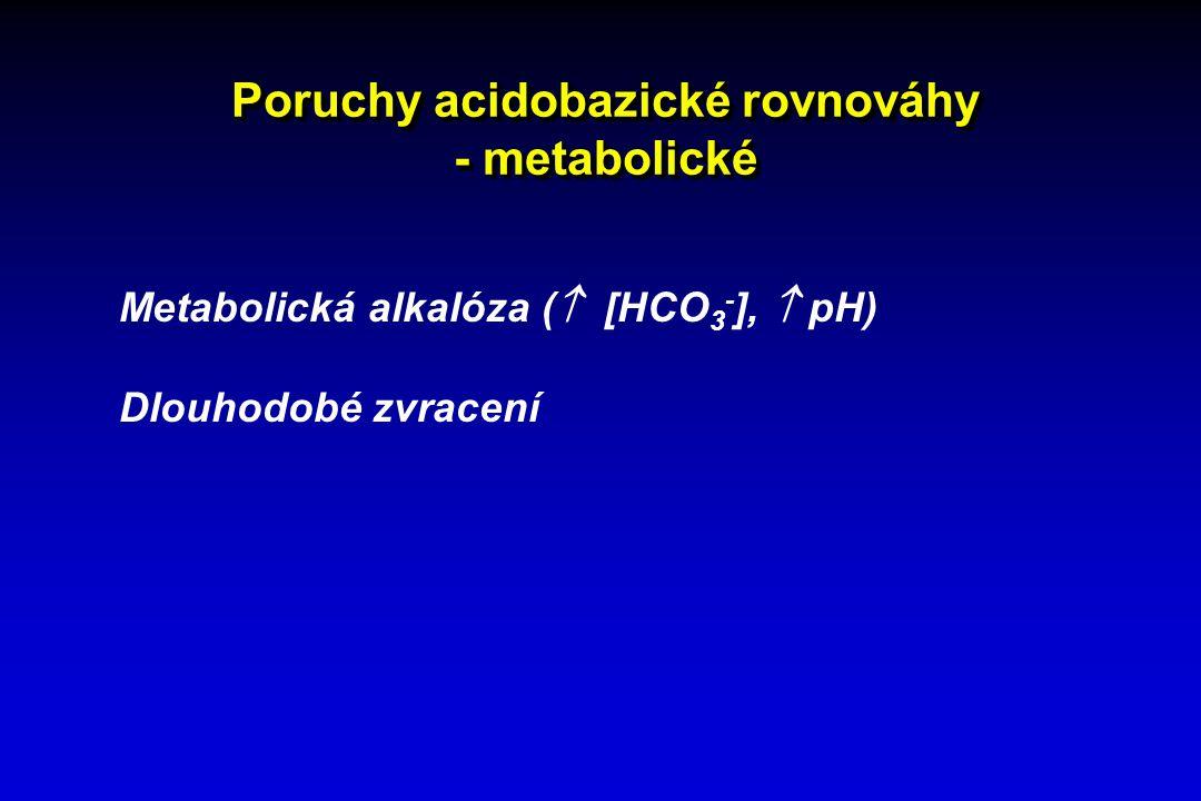 Poruchy acidobazické rovnováhy - metabolické Metabolická alkalóza (  [HCO 3 - ],  pH) Dlouhodobé zvracení