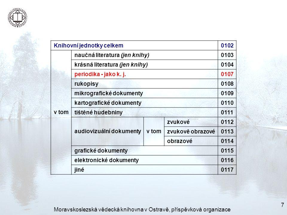7 Knihovní jednotky celkem0102 v tom naučná literatura (jen knihy)0103 krásná literatura (jen knihy)0104 periodika - jako k.