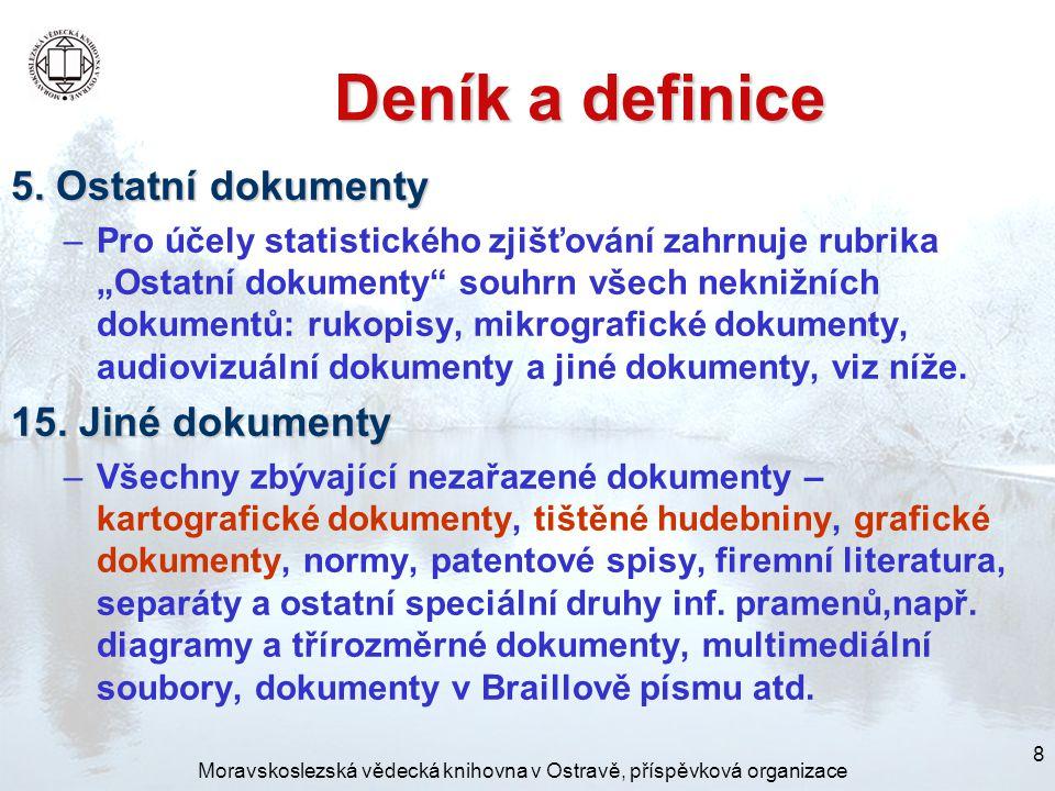 Moravskoslezská vědecká knihovna v Ostravě, příspěvková organizace 8 Deník a definice 5.