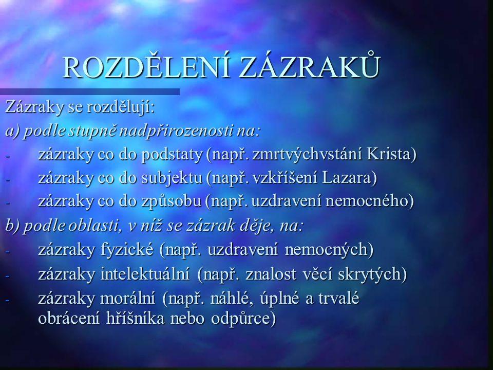 ROZDĚLENÍ ZÁZRAKŮ Zázraky se rozdělují: a) podle stupně nadpřirozenosti na: - zázraky co do podstaty (např. zmrtvýchvstání Krista) - zázraky co do sub