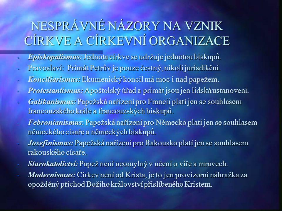 NESPRÁVNÉ NÁZORY NA VZNIK CÍRKVE A CÍRKEVNÍ ORGANIZACE - Episkopalismus: Jednota církve se udržuje jednotou biskupů. - Pravoslaví: Primát Petrův je po