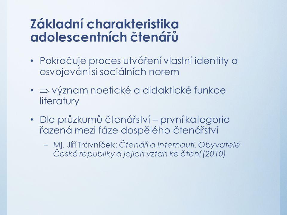 Základní charakteristika adolescentních čtenářů Pokračuje proces utváření vlastní identity a osvojování si sociálních norem  význam noetické a didakt