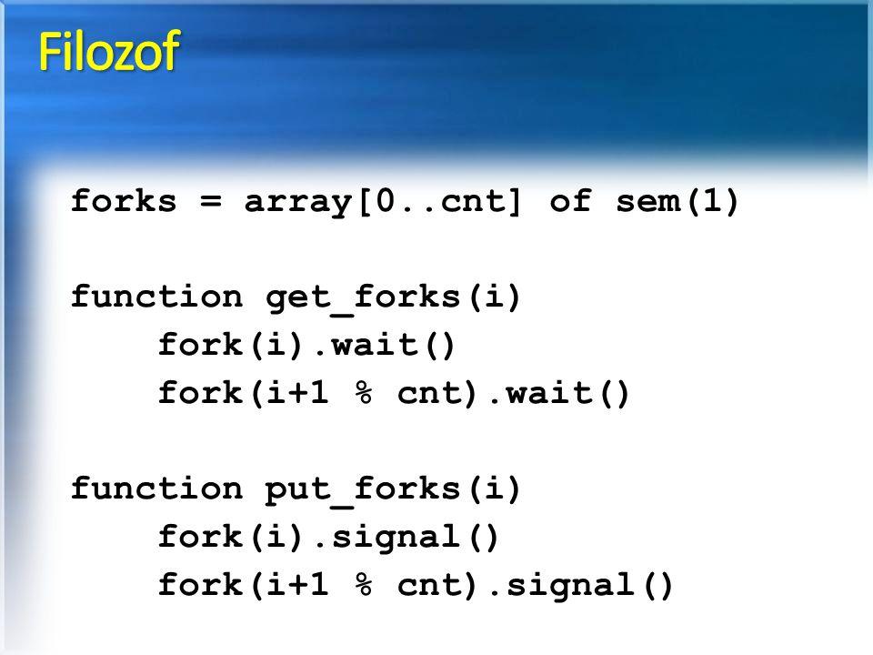 forks = array[0..cnt] of sem(1) function get_forks(i) fork(i).wait() fork(i+1 % cnt).wait() function put_forks(i) fork(i).signal() fork(i+1 % cnt).signal()