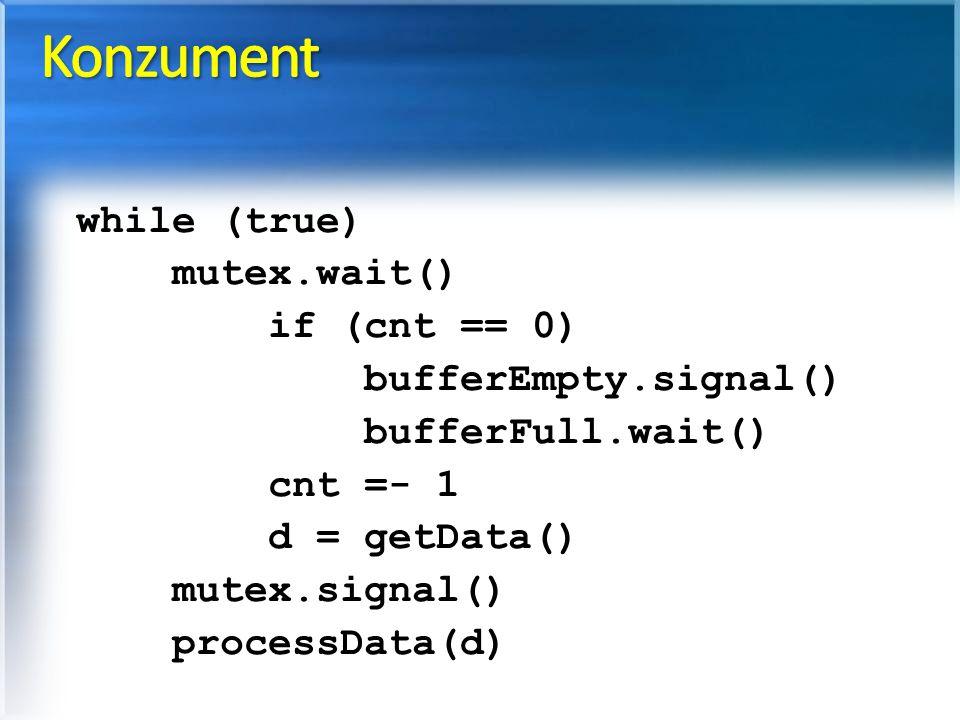 while (true) mutex.wait() if (cnt == 0) bufferEmpty.signal() bufferFull.wait() cnt =- 1 d = getData() mutex.signal() processData(d)