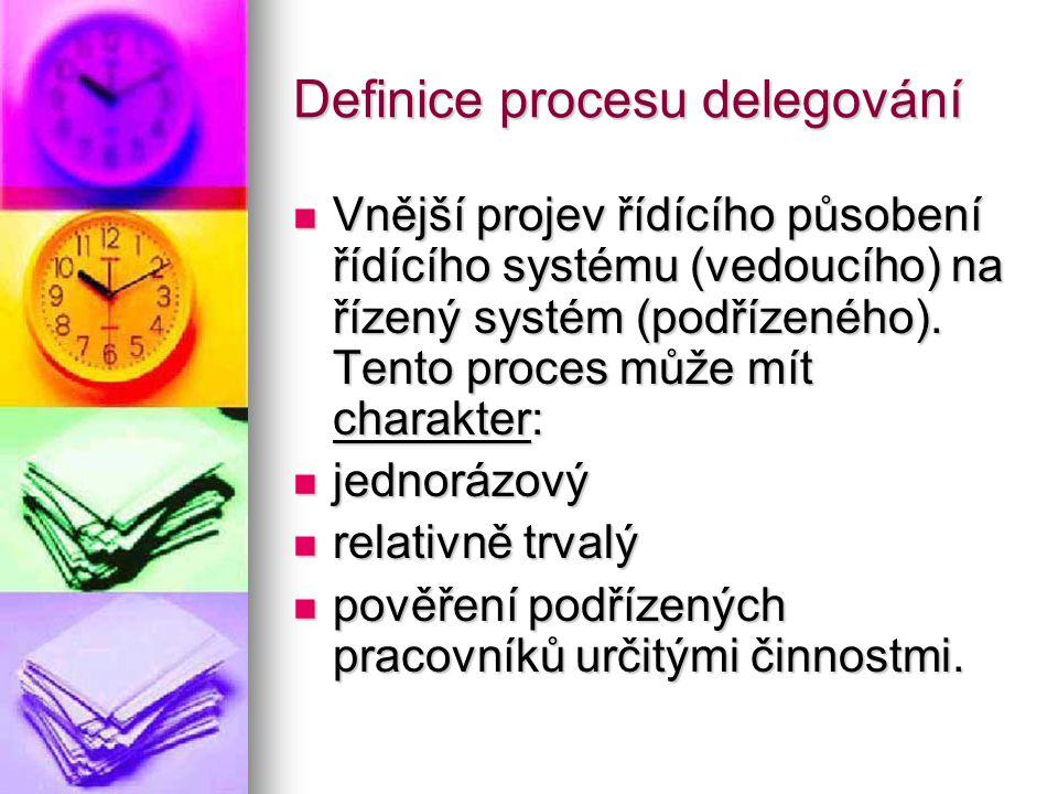 Definice procesu delegování Vnější projev řídícího působení řídícího systému (vedoucího) na řízený systém (podřízeného). Tento proces může mít charakt