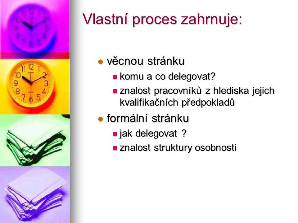 Vlastní proces zahrnuje: věcnou stránku věcnou stránku komu a co delegovat? komu a co delegovat? znalost pracovníků z hlediska jejich kvalifikačních p