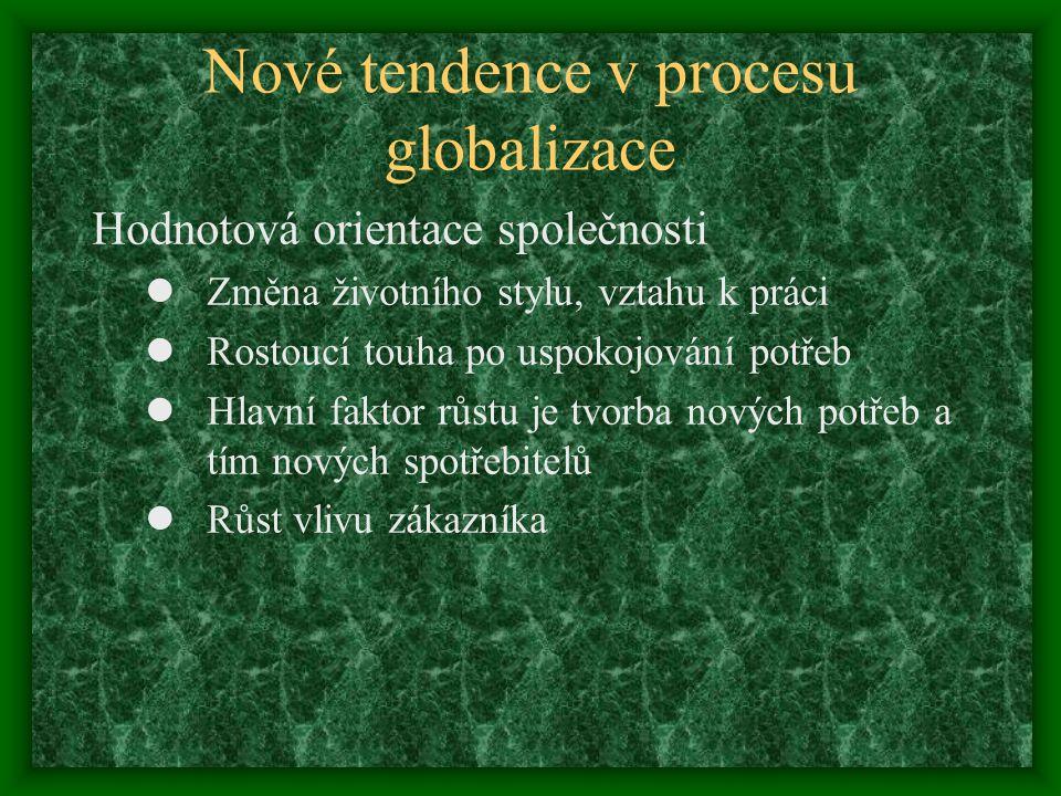 Nové tendence v procesu globalizace Hodnotová orientace společnosti Změna životního stylu, vztahu k práci Rostoucí touha po uspokojování potřeb Hlavní