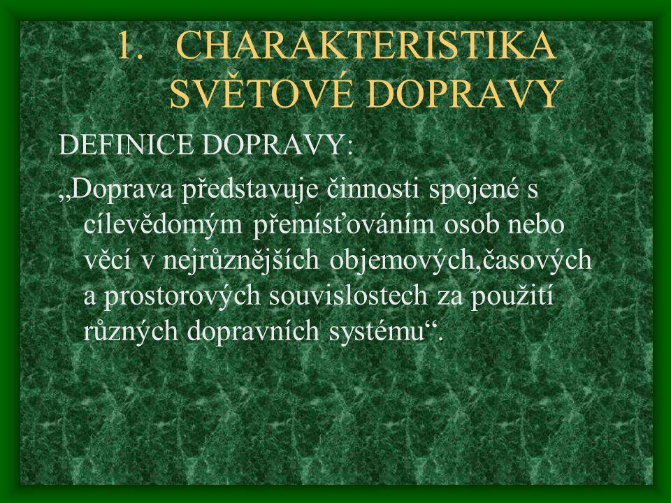 """1.CHARAKTERISTIKA SVĚTOVÉ DOPRAVY DEFINICE DOPRAVY: """"Doprava představuje činnosti spojené s cílevědomým přemísťováním osob nebo věcí v nejrůznějších o"""