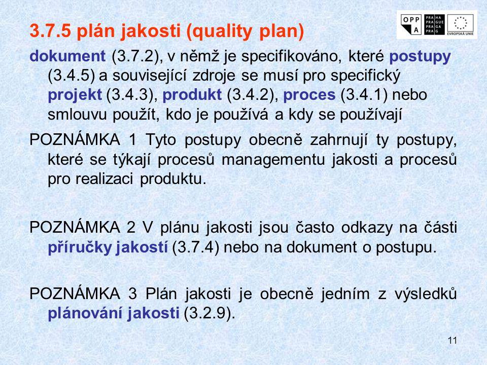 11 3.7.5 plán jakosti (quality plan) dokument (3.7.2), v němž je specifikováno, které postupy (3.4.5) a související zdroje se musí pro specifický proj