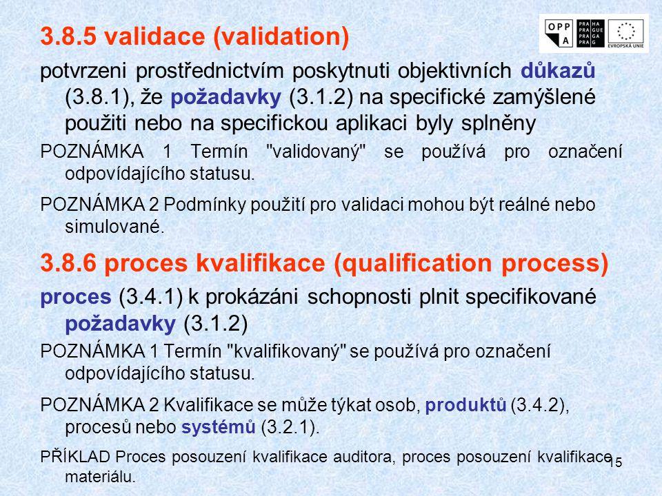 15 3.8.5 validace (validation) potvrzeni prostřednictvím poskytnuti objektivních důkazů (3.8.1), že požadavky (3.1.2) na specifické zamýšlené použiti