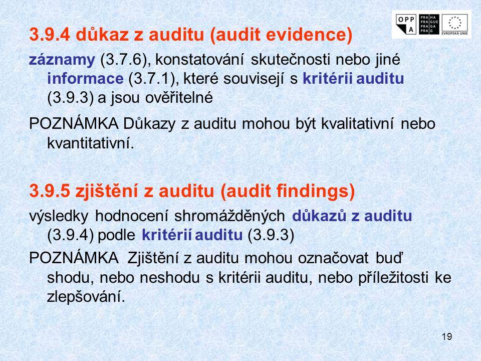 19 3.9.4 důkaz z auditu (audit evidence) záznamy (3.7.6), konstatování skutečnosti nebo jiné informace (3.7.1), které souvisejí s kritérii auditu (3.9