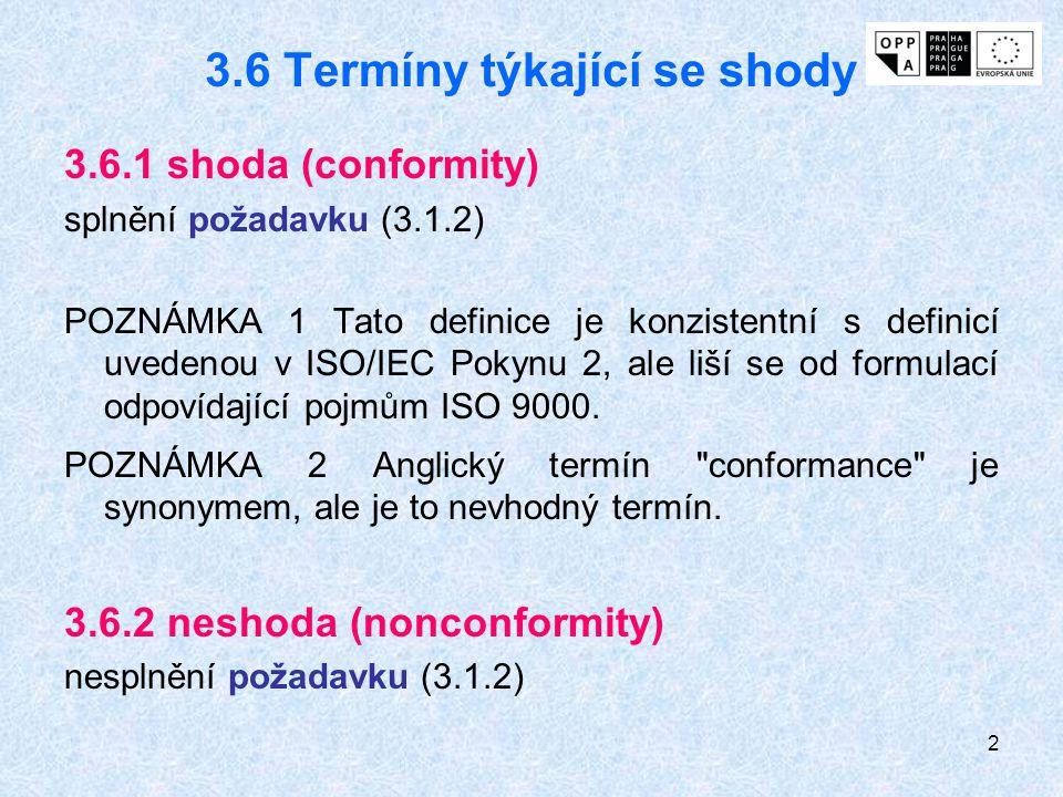2 3.6 Termíny týkající se shody 3.6.1 shoda (conformity) splnění požadavku (3.1.2) POZNÁMKA 1 Tato definice je konzistentní s definicí uvedenou v ISO/