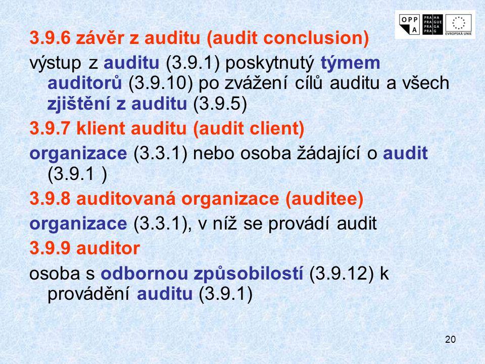 20 3.9.6 závěr z auditu (audit conclusion) výstup z auditu (3.9.1) poskytnutý týmem auditorů (3.9.10) po zvážení cílů auditu a všech zjištění z auditu