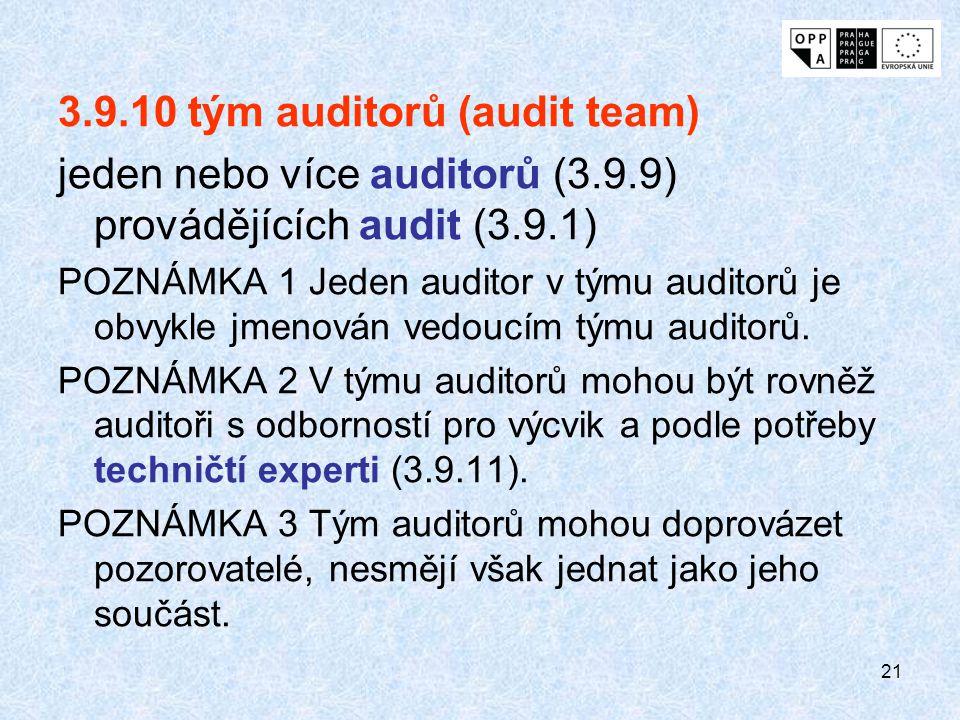 21 3.9.10 tým auditorů (audit team) jeden nebo více auditorů (3.9.9) provádějících audit (3.9.1) POZNÁMKA 1 Jeden auditor v týmu auditorů je obvykle j