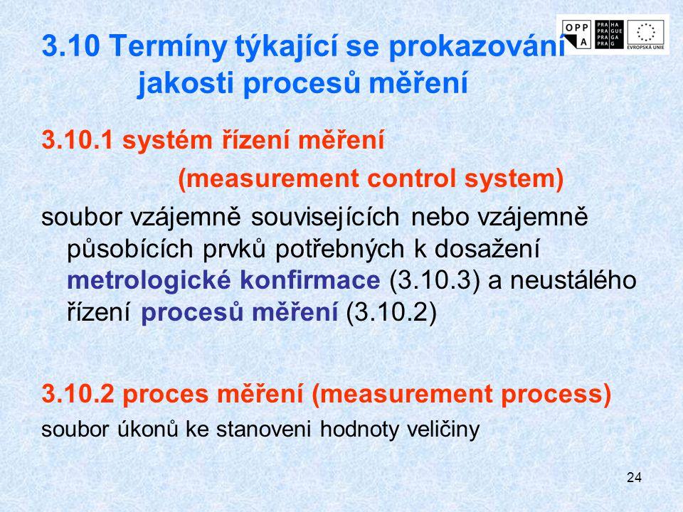 24 3.10 Termíny týkající se prokazování jakosti procesů měření 3.10.1 systém řízení měření (measurement control system) soubor vzájemně souvisejících