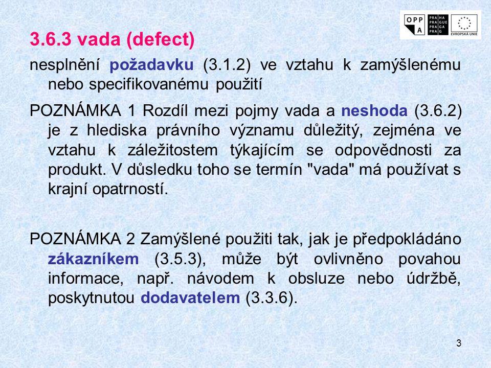 3 3.6.3 vada (defect) nesplnění požadavku (3.1.2) ve vztahu k zamýšlenému nebo specifikovanému použití POZNÁMKA 1 Rozdíl mezi pojmy vada a neshoda (3.