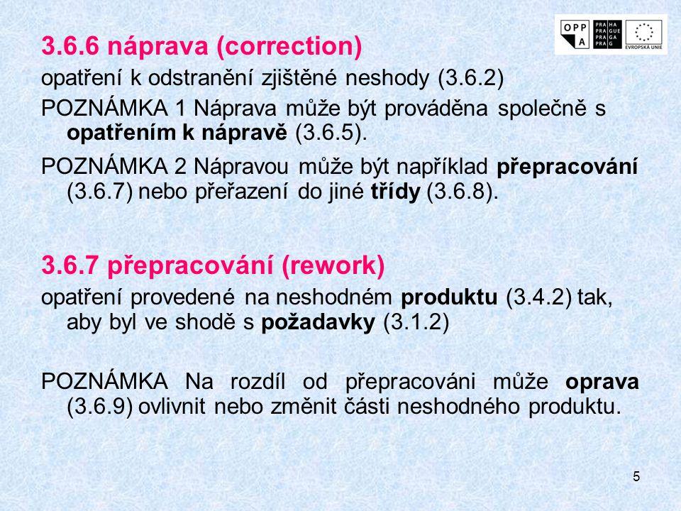 5 3.6.6 náprava (correction) opatření k odstranění zjištěné neshody (3.6.2) POZNÁMKA 1 Náprava může být prováděna společně s opatřením k nápravě (3.6.