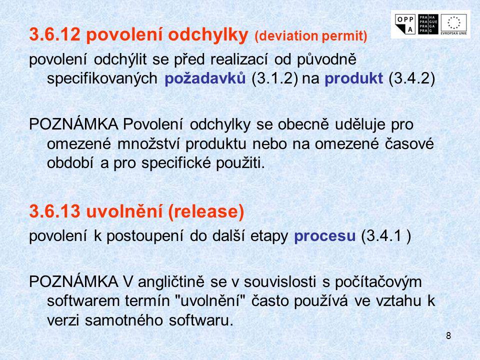 8 3.6.12 povolení odchylky (deviation permit) povolení odchýlit se před realizací od původně specifikovaných požadavků (3.1.2) na produkt (3.4.2) POZN