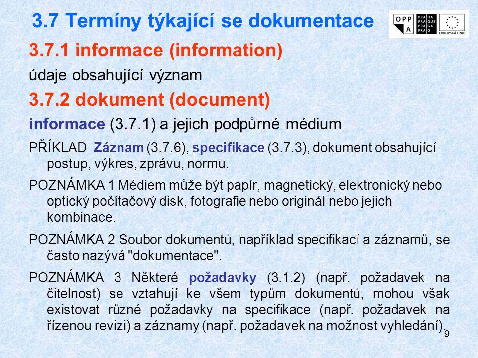 9 3.7 Termíny týkající se dokumentace 3.7.1 informace (information) údaje obsahující význam 3.7.2 dokument (document) informace (3.7.1) a jejich podpů