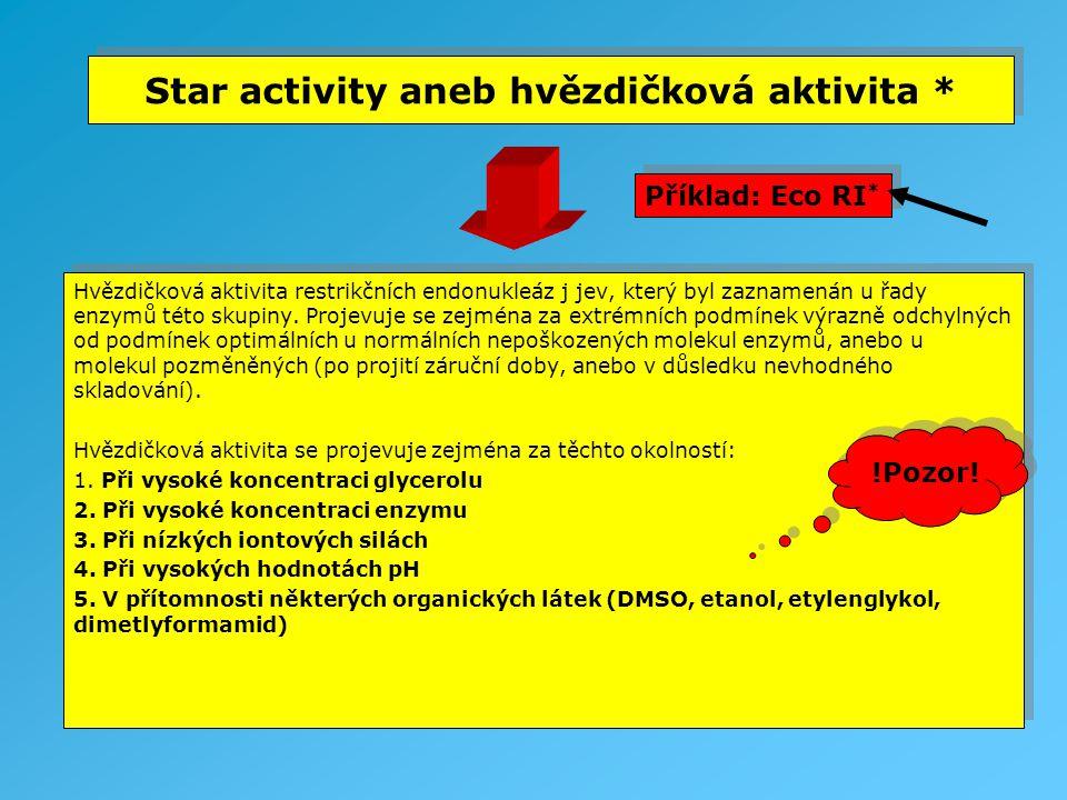 Star activity aneb hvězdičková aktivita * Hvězdičková aktivita restrikčních endonukleáz j jev, který byl zaznamenán u řady enzymů této skupiny. Projev